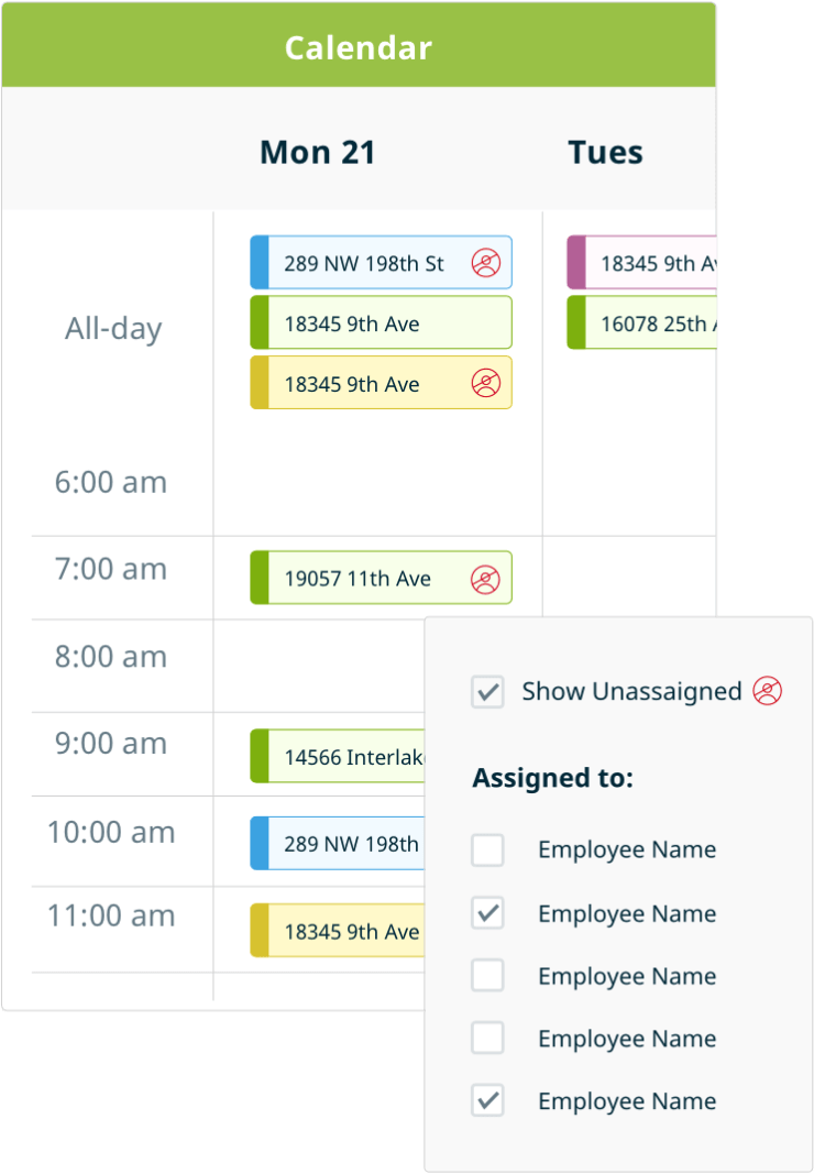 Tiling business software: example of scheduling and dispatching features