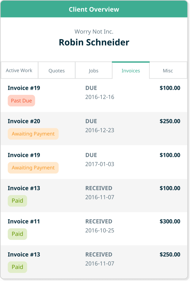 Track all jobs, quotes, and invoices