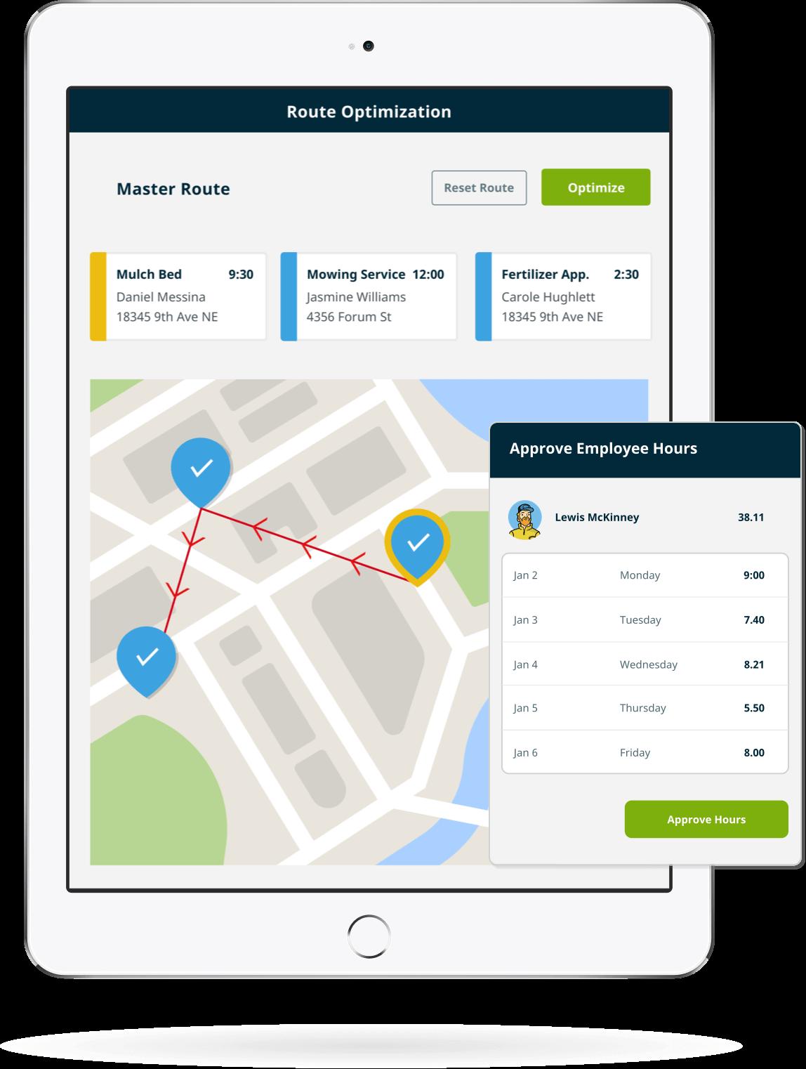 Team management features in Jobber's construction management app