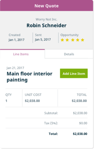 Example of pool estimating software in Jobber for pool care businesses