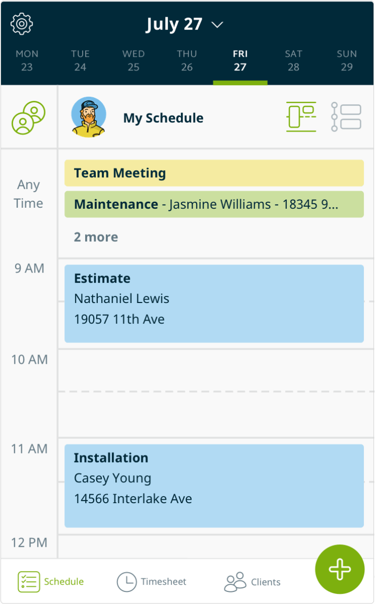 Jobber App - Schedule