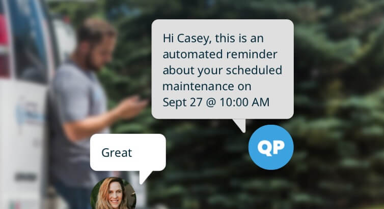A chat message conversation reminding Casey she has a scheduled maintenance appointment.