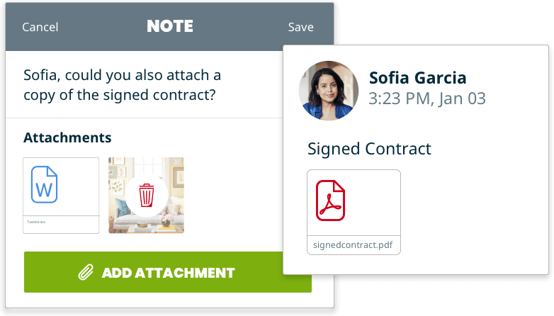 Example of what notes and attachments look like in Jobber's fence software