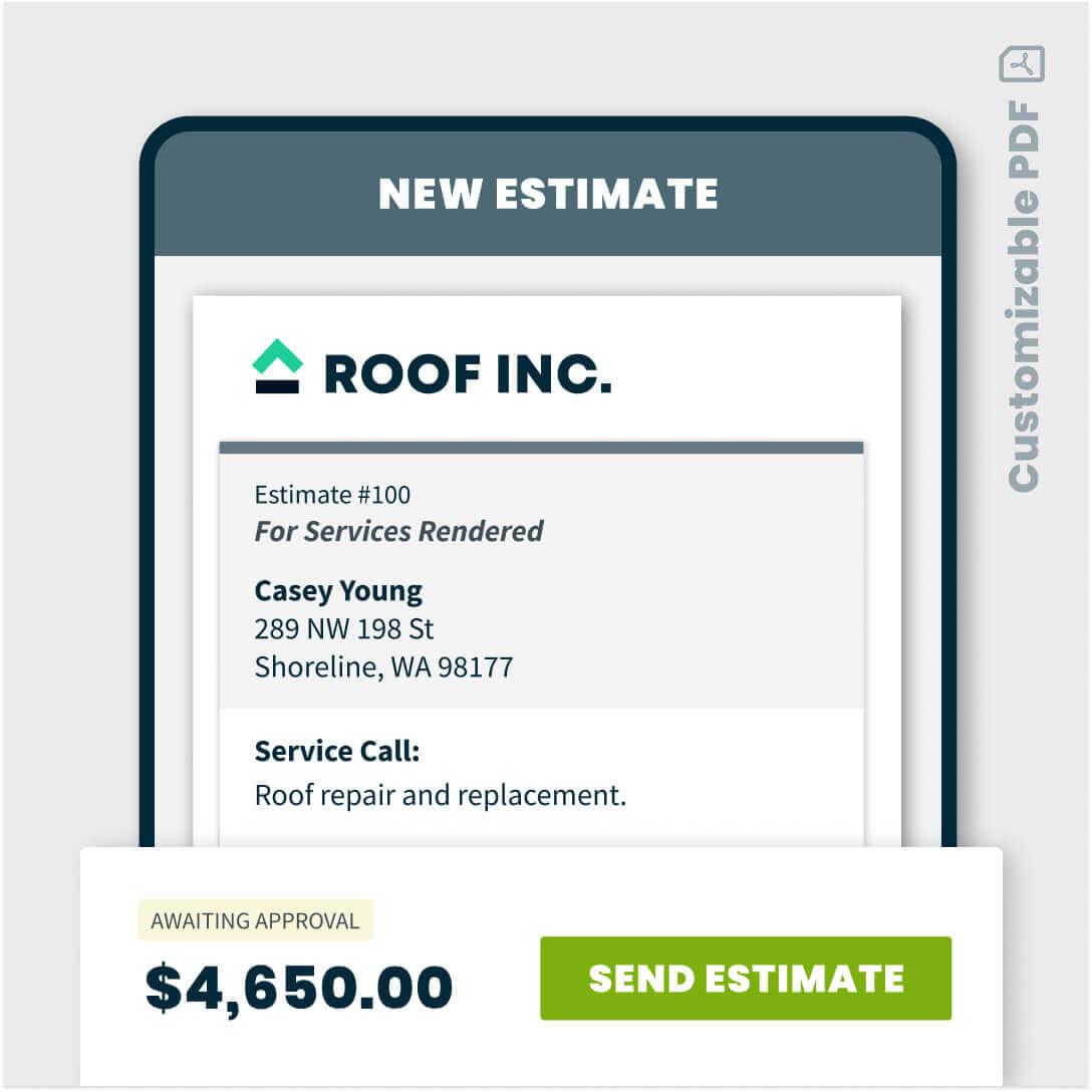 Roofing estimate in Jobber